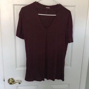 Maroon cutout t shirt